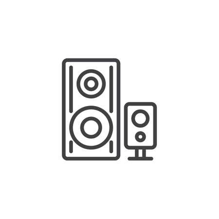 Icona della linea di altoparlanti audio. Segno di stile lineare del sistema stereo per il concetto mobile e il web design. Icona di vettore del profilo dell'altoparlante audio. Simbolo, illustrazione del logo. Grafica vettoriale pixel perfetta Logo