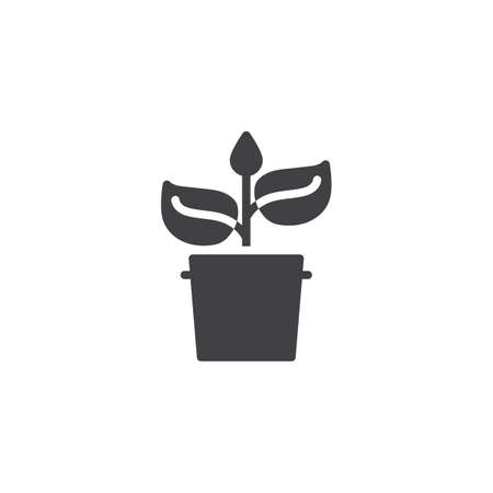 Potted plant vector icon. filled flat sign for mobile concept and web design. Flower Pot and plant with leaves glyph icon. Symbol, logo illustration. Pixel perfect vector graphics  イラスト・ベクター素材