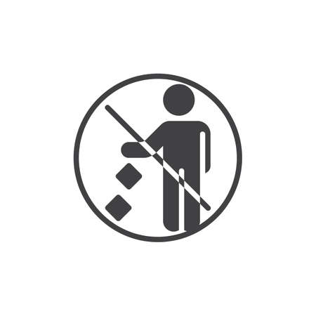 Do not litter prohibition sign vector icon. filled flat sign for mobile concept and web design. Keep it clean glyph icon. Symbol, logo illustration. Pixel perfect vector graphics