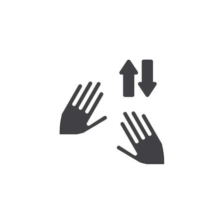 Shuffle tap vector icon. Swipe up and down Hand Click filled flat sign for mobile concept and web design. Two hand touch gesture glyph icon. Symbol, logo illustration. Pixel perfect vector graphics Illusztráció