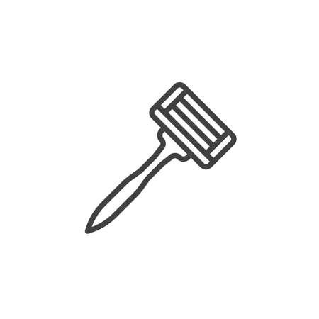 Raser l'icône de la ligne du rasoir. signe de style linéaire pour le concept mobile et la conception Web. Icône de vecteur de contour de lame de rasoir. Symbole, illustration du logo. Pixel graphiques vectoriels parfaits