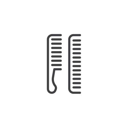 Hair brushes line icon. linear style sign for mobile concept and web design. Barbershop, comb outline vector icon. Symbol, logo illustration. Pixel perfect vector graphics