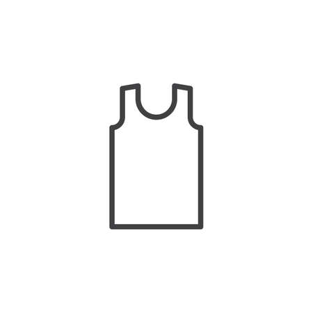 Sleeveless shirt line icon. linear style sign for mobile concept and web design. Mens tank top without sleeves outline vector icon. Symbol, logo illustration. Pixel perfect vector graphics