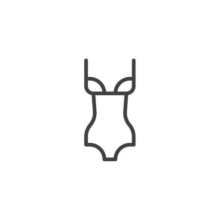 Female swimsuit line icon. linear style sign for mobile concept and web design. Classic womans swimsuit outline vector icon. Symbol, logo illustration. Pixel perfect vector graphics Standard-Bild - 122161484
