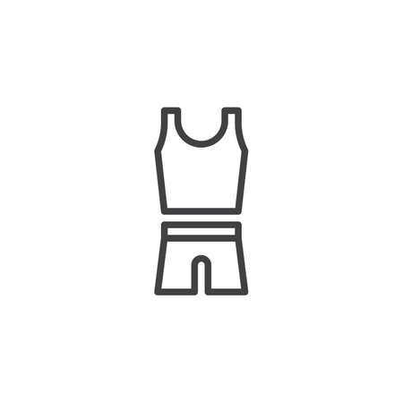 Mens sport clothing line icon. linear style sign for mobile concept and web design. Sleeveless shirt and shorts outline vector icon. Symbol, logo illustration. Pixel perfect vector graphics Ilustrace