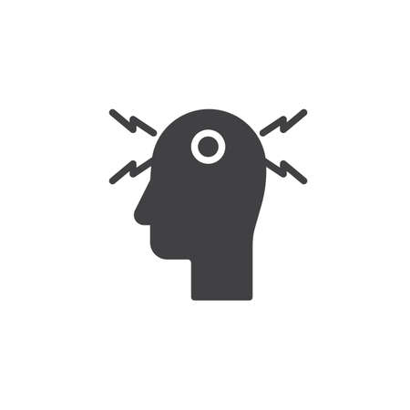 Headache vector icon. filled flat sign for mobile concept and web design. Migraine, stress glyph icon. Symbol, logo illustration. Pixel perfect vector graphics Иллюстрация