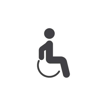 Handicapped patient vector icon. filled flat sign for mobile concept and web design. Disabled man glyph icon. Symbol, logo illustration. Pixel perfect vector graphics Çizim