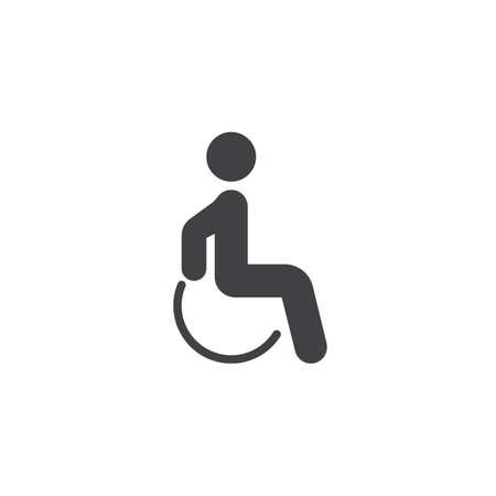 Icona di vettore del paziente disabile. segno piatto riempito per il concetto mobile e il web design. Icona del glifo con uomo disabili. Simbolo, illustrazione del logo. Grafica vettoriale pixel perfetta Logo