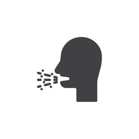 Cough with phlegm vector icon. Bad breath filled flat sign for mobile concept and web design. Coughing man glyph icon. Symbol, logo illustration. Pixel perfect vector graphics