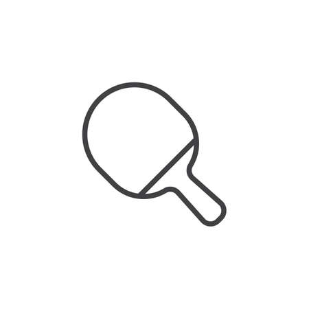 Ping pong paddle line icon. linear style sign for mobile concept and web design. Table Tennis Racket outline vector icon. Symbol, logo illustration. Pixel perfect vector graphics