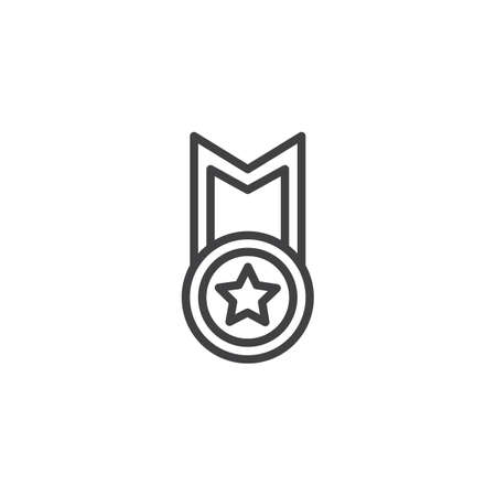 Best star medal line icon. linear style sign for mobile concept and web design. Star award badge outline vector icon. Symbol, logo illustration. Pixel perfect vector graphics