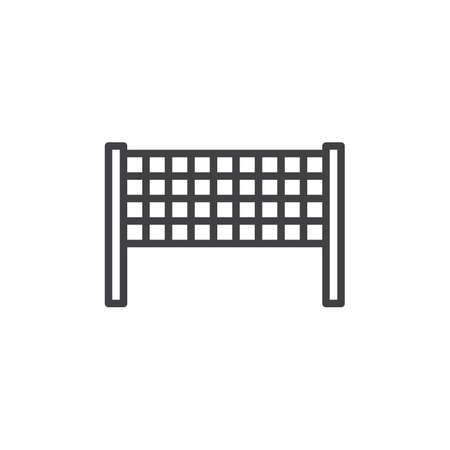 Volleyball net line icon. Badminton net linear style sign for mobile concept and web design. beach volleyball outline vector icon. Symbol, logo illustration. Pixel perfect vector graphics
