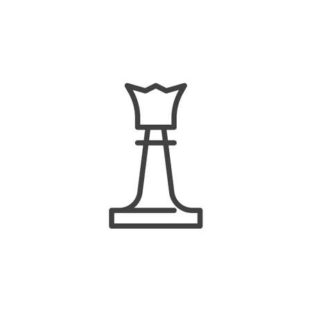 Queen chess piece line icon. linear style sign for mobile concept and web design. Chess queen outline vector icon. Symbol, logo illustration. Pixel perfect vector graphics Stock Illustratie