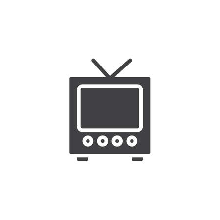 Retro television vector icon. filled flat sign for mobile concept and web design. Old tv glyph icon. Symbol, logo illustration. Pixel perfect vector graphics  イラスト・ベクター素材