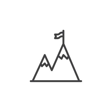 Mountain peak with flag line icon. linear style sign for mobile concept and web design. Achievement outline vector icon. Successful mission symbol, logo illustration. Pixel perfect vector graphics Standard-Bild - 122399525