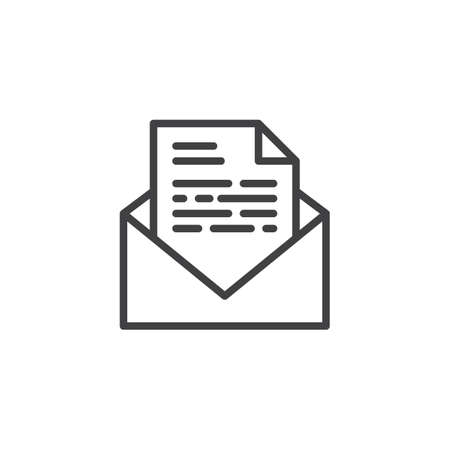 Envelope letter line icon. linear style sign for mobile concept and web design. Receive envelope mail outline vector icon. Symbol, logo illustration. Pixel perfect vector graphics