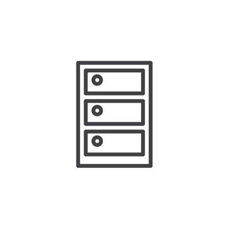 Cabinet line icon. linear style sign for mobile concept and web design. Archive box outline vector icon. Symbol, logo illustration. Pixel perfect vector graphics