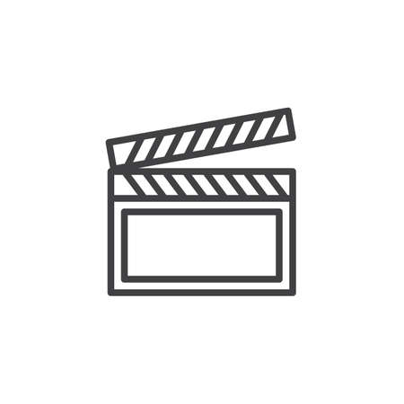 Clapper board line icon. linear style sign for mobile concept and web design. Clapboard outline vector icon. Video production symbol, logo illustration. Pixel perfect vector graphics