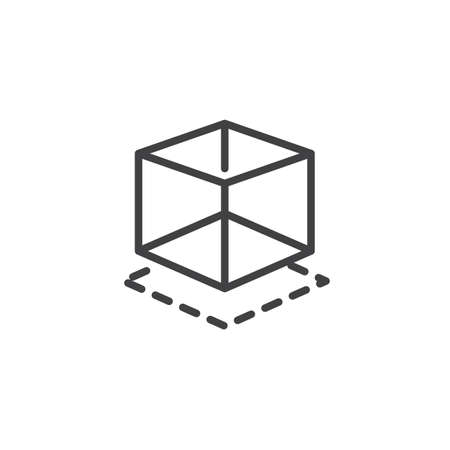 3d modeling line icon. linear style sign for mobile concept and web design. Geometry cube shape outline vector icon. Symbol, logo illustration. Pixel perfect vector graphics