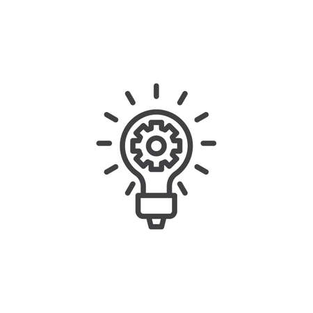Idea lamp with gear line icon. linear style sign for mobile concept and web design. Creative think outline vector icon. Symbol, logo illustration. Pixel perfect vector graphics