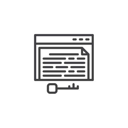 Keyword page line icon. linear style sign for mobile concept and web design. Key and browser window outline vector icon. Symbol, logo illustration. Pixel perfect vector graphics