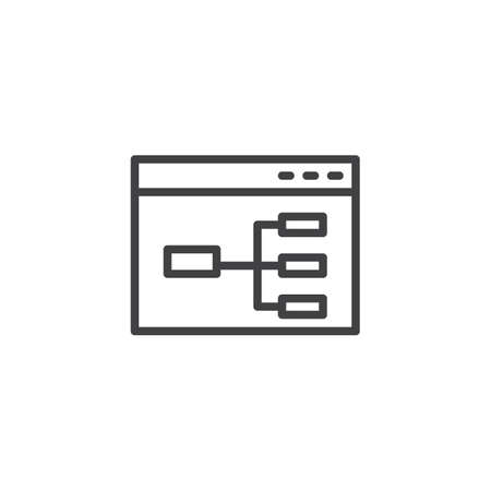 Website flowchart line icon. Wireframe linear style sign for mobile concept and web design. Sitemap outline vector icon. Symbol, logo illustration. Pixel perfect vector graphics Illustration