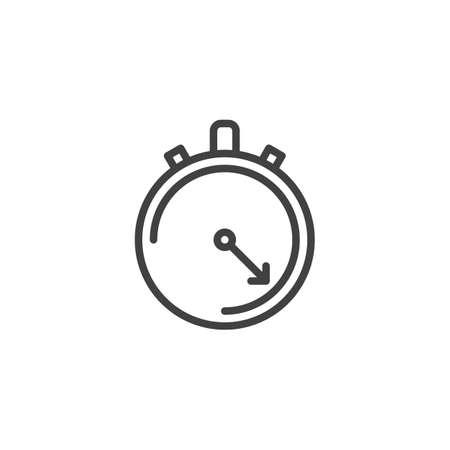 Stopwatch line icon. linear style sign for mobile concept and web design. Chronometer outline vector icon. Time, deadline symbol, logo illustration. Pixel perfect vector graphics Ilustração