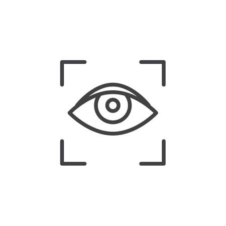 Eye scan line icon. linear style sign for mobile concept and web design. Focus visualization outline vector icon. Symbol, logo illustration. Pixel perfect vector graphics