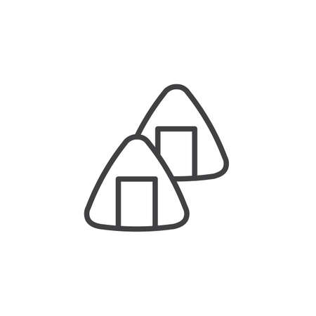 Triangle sushi rolls line icon. linear style sign for mobile concept and web design. Traditional Japanese food outline vector icon. Symbol, logo illustration. Pixel perfect vector graphics Logo
