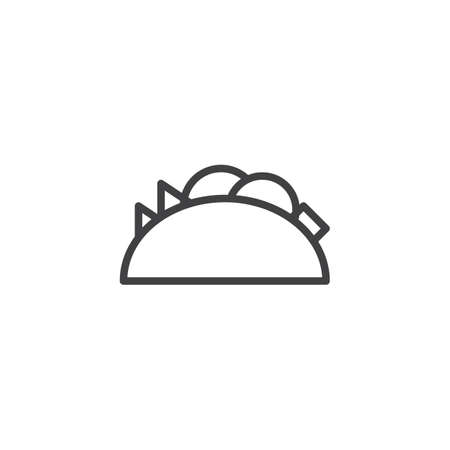 Taco food line icon. linear style sign for mobile concept and web design. tortilla, mexican food outline vector icon. Symbol, logo illustration. Pixel perfect vector graphics