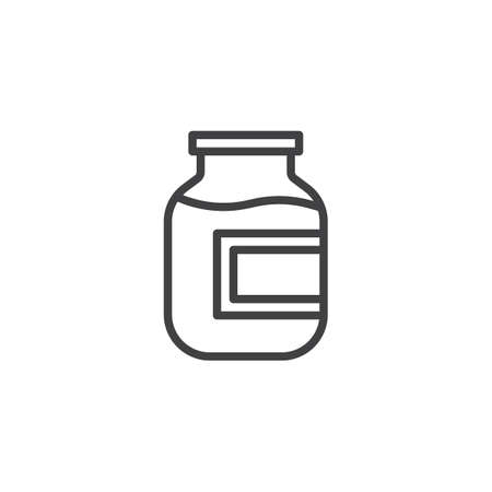 Compote, fruit juice line icon. linear style sign for mobile concept and web design. Stewed fruit jar outline vector icon. Symbol, logo illustration. Pixel perfect vector graphics Illusztráció