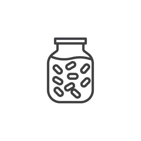 Pickled food jar line icon. linear style sign for mobile concept and web design. Marinated food jar outline vector icon. Symbol, logo illustration. Pixel perfect vector graphics
