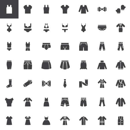 Clothes and accessories vector icons set, modern solid symbol collection, filled style pictogram pack. Signs, logo illustration. Set includes icons as mens underwear, womens swimsuit, winter coat