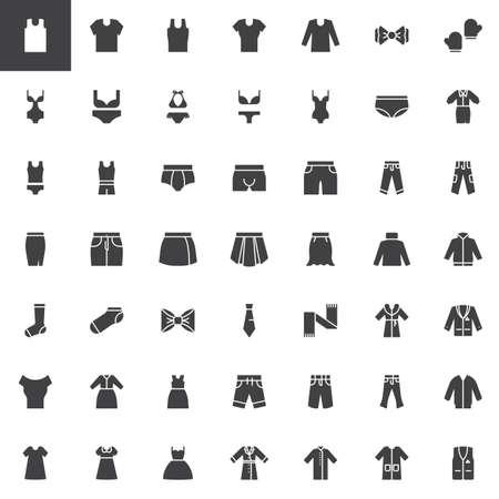 Conjunto de iconos de vector de ropa y accesorios, colección de símbolo sólido moderno, paquete de pictogramas de estilo lleno. Signos, ilustración del logo. El juego incluye iconos como ropa interior para hombre, traje de baño para mujer, abrigo de invierno