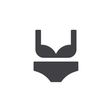 Women's bra and panties vector icon. filled flat sign for mobile concept and web design. Lingerie, bikini glyph icon. Symbol, logo illustration. Pixel perfect vector graphics  イラスト・ベクター素材