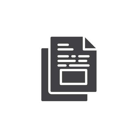 Document file vector icon. filled flat sign for mobile concept and web design. Paper documents glyph icon. Symbol, logo illustration. Pixel perfect vector graphics