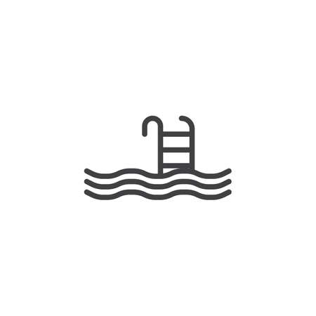 Swimming Pool line icon. linear style sign for mobile concept and web design. Pool ladder swim outline vector icon. Symbol, logo illustration. Pixel perfect vector graphics