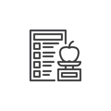 Healthy food and Diet planning line icon. linear style sign for mobile concept and web design. Vegan diet plan checklist outline vector icon. Symbol, logo illustration. Pixel perfect vector graphics