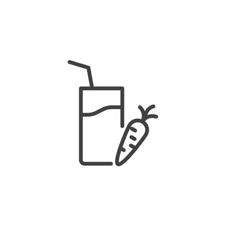 Carrot juice line icon. linear style sign for mobile concept and web design. Carrot and juice glass with straw outline vector icon. Healthy diet food symbol, logo illustration. Pixel perfect vector