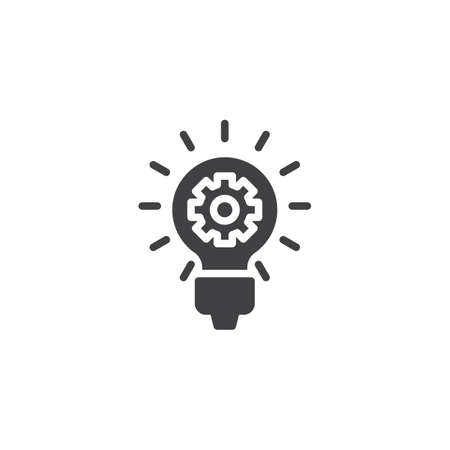 Idea lamp with gear vector icon. filled flat sign for mobile concept and web design. Creative think glyph icon. Symbol, logo illustration. Pixel perfect vector graphics