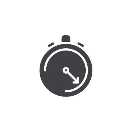 Stopwatch vector icon. filled flat sign for mobile concept and web design. Chronometer glyph icon. Time, deadline symbol, logo illustration. Pixel perfect vector graphics