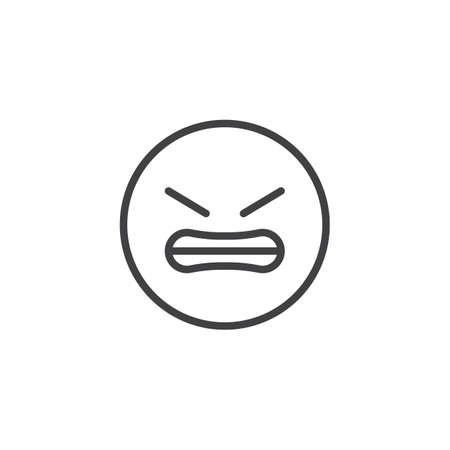 Grimacing Face emoji line icon. linear style sign for mobile concept and web design. Angry Face emoticon outline vector icon. Symbol, logo illustration. Vector graphics Standard-Bild - 122774316