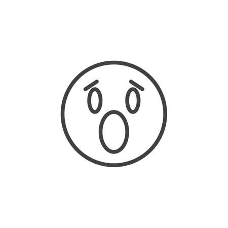 Anguished emoji face line icon. linear style sign for mobile concept and web design. Surprised face emoticon outline vector icon. Symbol, logo illustration. Vector graphics 向量圖像