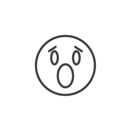 Icona della linea del viso emoji angosciato. segno di stile lineare per il concetto mobile e il web design. Icona di vettore di contorno di emoticon faccia sorpresa. Simbolo, illustrazione del logo. Grafica vettoriale