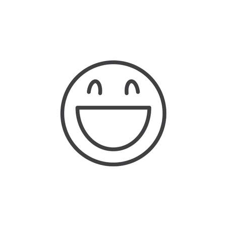 Laughing face emoji line icon. linear style sign for mobile concept and web design. Happy Smiling Face With Open Mouth emoticon outline vector icon. Symbol, logo illustration. Vector graphics