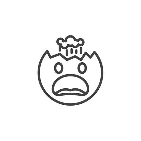 Face With Exploding Head emoji line icon. linear style sign for mobile concept and web design. Furious emoticon outline vector icon. Symbol, logo illustration. Vector graphics Illustration