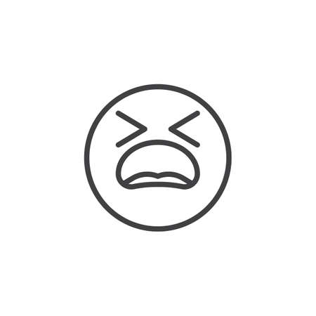 Suffering Face emoji line icon. linear style sign for mobile concept and web design. Tired Face emoticon outline vector icon. Symbol, logo illustration. Vector graphics
