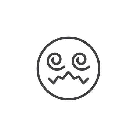 Hypnotized emoji face line icon. linear style sign for mobile concept and web design. Confounded Face emoticon outline vector icon. Symbol, logo illustration. Vector graphics Illustration