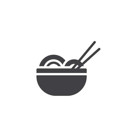 Noodles bowl and chopsticks vector icon. filled flat sign for mobile concept and web design. Asian Food Noodles glyph icon. Symbol, logo illustration. Pixel perfect vector graphics