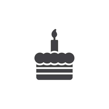 Birthday cake with one candle vector icon. filled flat sign for mobile concept and web design. Candle glyph icon. Symbol, logo illustration. Pixel perfect vector graphics  イラスト・ベクター素材